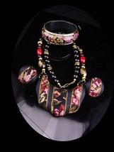 Vintage Necklace set / tapestry earrings / black paisley bangle / needle... - $65.00
