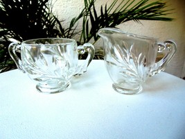 Indiana Glass Willow Pattern Clear Cream and Sugar Set c 1930's - $11.88