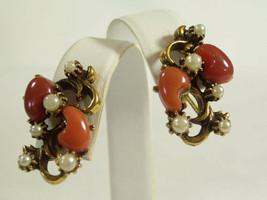 Carnelian Stones Faux Pearl Free Form Earrings Screw Back Gold Plated Vi... - $16.78