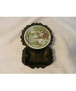 Vintage A Home In the Wilderness Coaster & Black Metal Ashtray Enesco Japan - $37.13