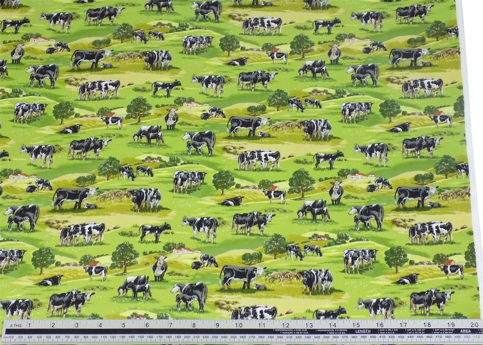 Countryside Cows Grass Green 100% Cotton High Quality Fabric Material 2 Sizes