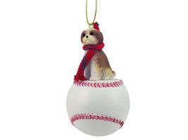 Shih Tzu Tan w/Sport Cut Baseball Ornament - $17.99