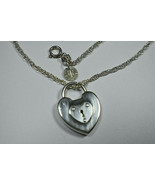 """Tiffany & Co 1"""" Silver Heart Emblem Padlock Lock Heavy Chain Necklace 18"""" - $264.93"""