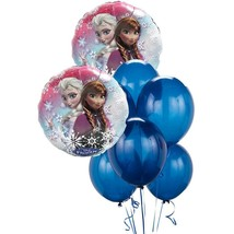Disney Frozen Balloon Bouquet Package 2 Foil 6 Blue Latex Birthday Party New - $6.88
