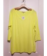 Gap V-neck 3/4 Sleeve Baseball Tee, Neon Lemon Yellow, Cotton/Modal, Siz... - $29.99