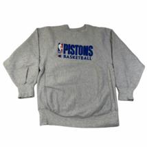 Vintage Detroit Pistons Crew Neck Sweatshirt Mens XL Gray Champion Rever... - $93.49