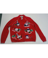 ugly snowman winter red zipper front cardigan sweater Tiara internationa... - $9.89