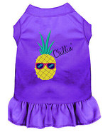 Pineapple Chillin Embroidered Dog Dress Purple Med - $25.98