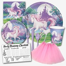 Enchanted Unicorn Fantasy Pastel Birthday Party Supplies Set for Girls -... - $26.85