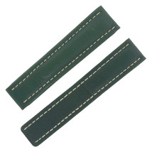 Breitling 22-18mm Genuine Leather Green Unisex Watch Band - $395.08 CAD