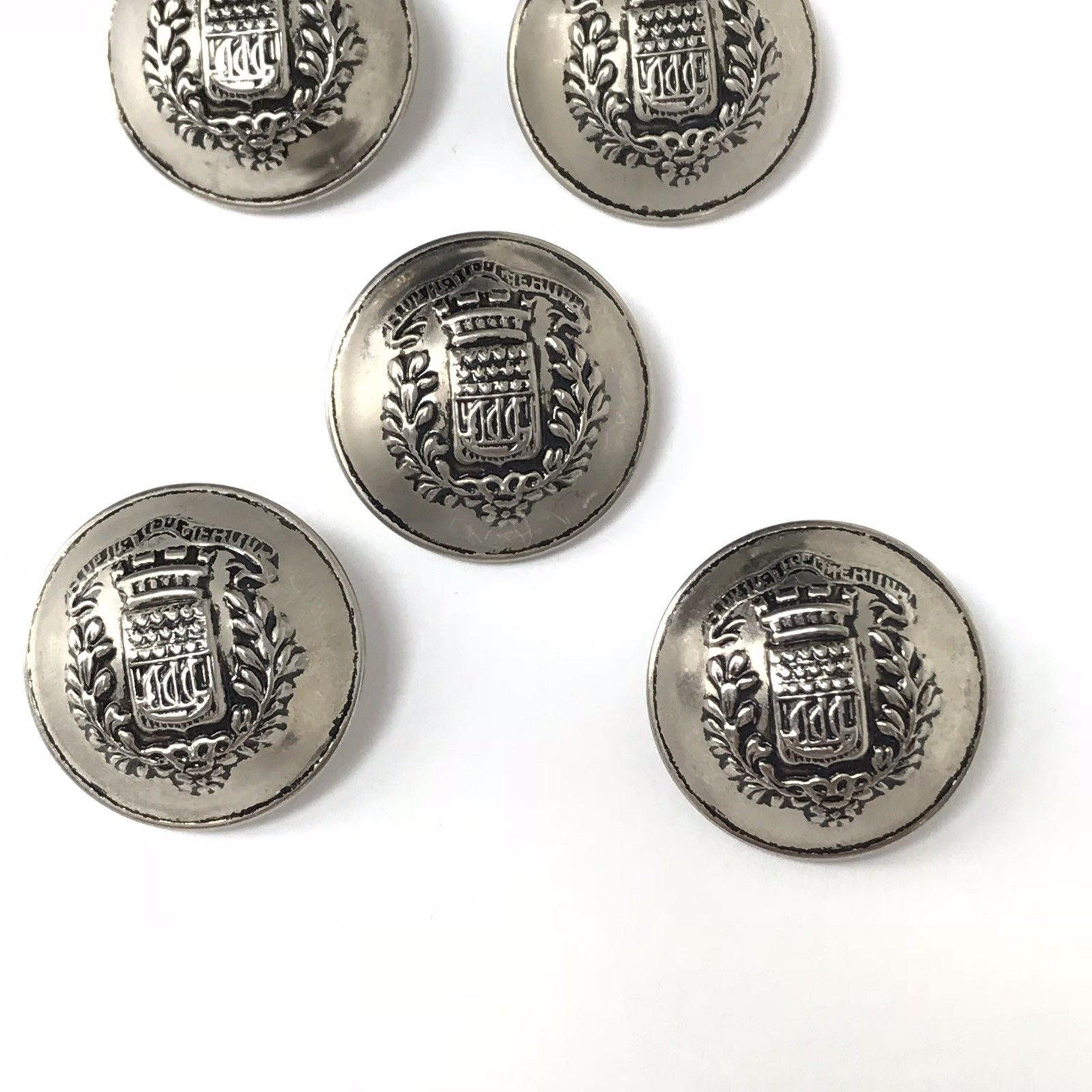 "Vintage Domed Metal Buttons Silver Tone Crest Military Coat 1 1/8"" Lot of 5"