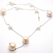 Necklace White Gold 18k, with Hanging Charm, Pearls Large, White & Pink, 16 Mm image 1