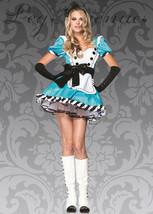 Leg Avenue Charming Alice in Wonderland Costume M/L Dress Blue White Glo... - $39.00