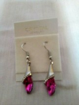 Fashion Crystal Jewelry Pointed Tear Drop Earrings Pink Purple Silver Tone - $4.90