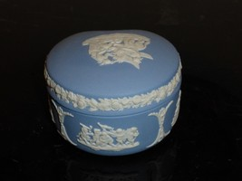 "Vintage Wedgwood Jasperware Blue And White Trinket Box 1 3/4"" H By 3"" W - $24.00"