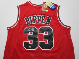 SCOTTIE PIPPEN / AUTOGRAPHED CHICAGO BULLS RED PRO STYLE BAKETBALL JERSEY / COA image 1
