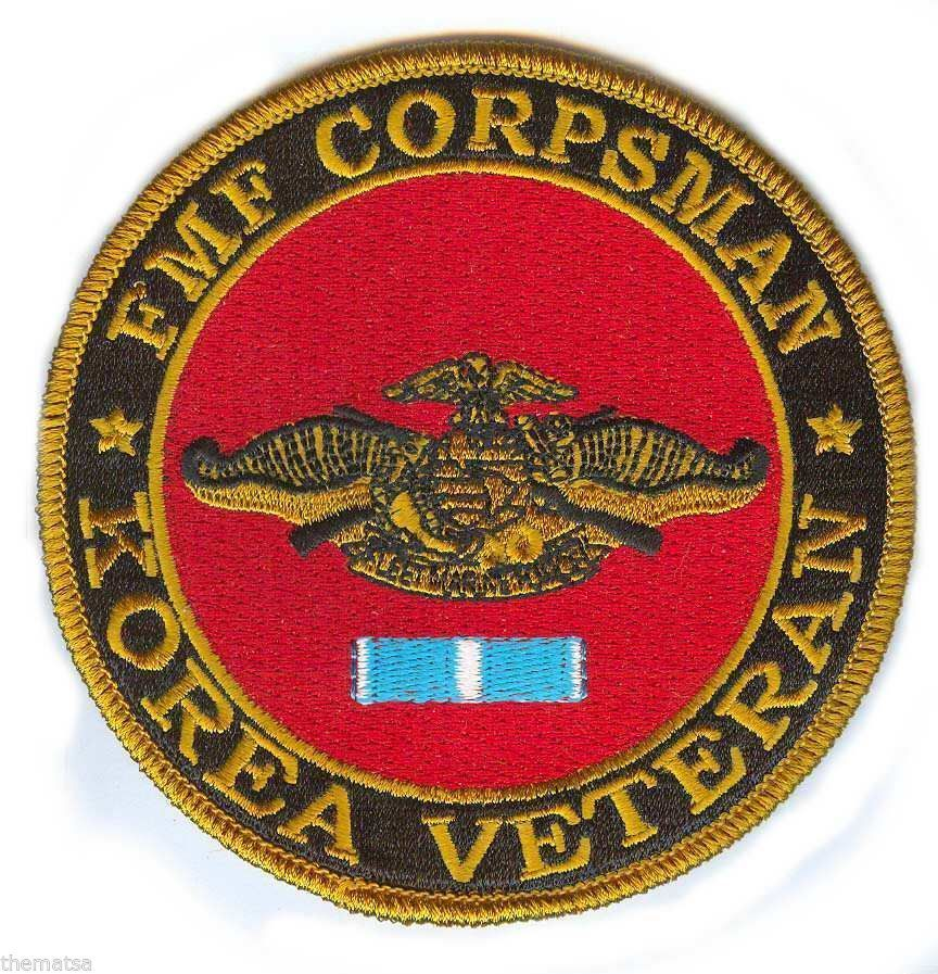 FLEET MARINE FORCE  CORPSMAN FMF EMBROIDERED KOREA VETERAN SERVICE RIBBON  PATCH