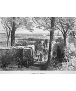 GEORGIA View of Augusta from Sommerville - 1883 German Print - $14.40