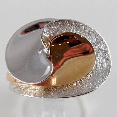 18K ROSE & WHITE GOLD RING, ALTERNATE WAVE SPIRAL FINELY WORKED, MADE IN ITALY