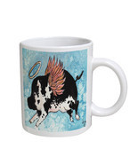 KuzmarK Coffee Cup Mug 11 Ounce -  Flying Angel Pig Animal Art by Denise... - £13.68 GBP