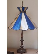 Wonderful Antique Brass Table Lamp - Stained Glass Shade -  VGC - BEAUTIFUL - $188.09
