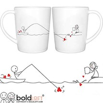 "BOLDLOFT""Catch My Heart"" His and Hers Coffee Mugs-Long Distance Relation... - $44.22"