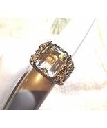 Genuine Green Amethyst Vintage Dragonfly Golden 925 Sterling Silver Ring - $110.88