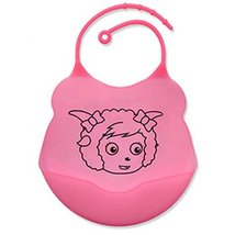 2 Pcs Comfortable and Durable Cartoon Silicone Baby Bibs Pocket Meals/Pink image 2