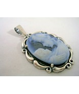 CAMEO MOTHER AND CHILD PENDANT SET IN A STERLING SILVER FRAME - $93.46