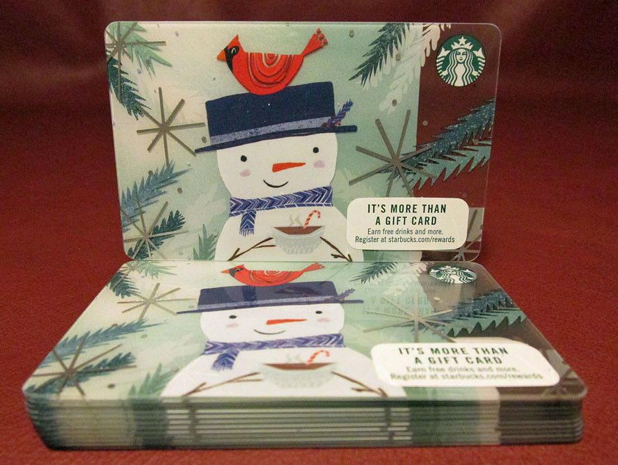 Lot of 15 Starbucks 2017 Wadja Do in My Coffee? Snowman Gift Cards New with Tags