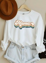 Womens Retro Mama Crewneck Sweatshirt Sweater Tops Mothers Day Gift for ... - $32.99