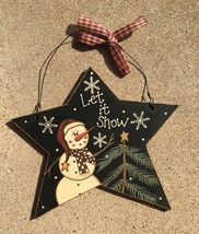 Primitive Wood 74704LIS - Let It Snow Star Snowman Christmas Ornament  - $3.95