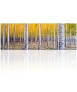 Visual Art Decor Xlarge Canvas Prints Golden Autumn Birch Forest Scenery... - $69.31