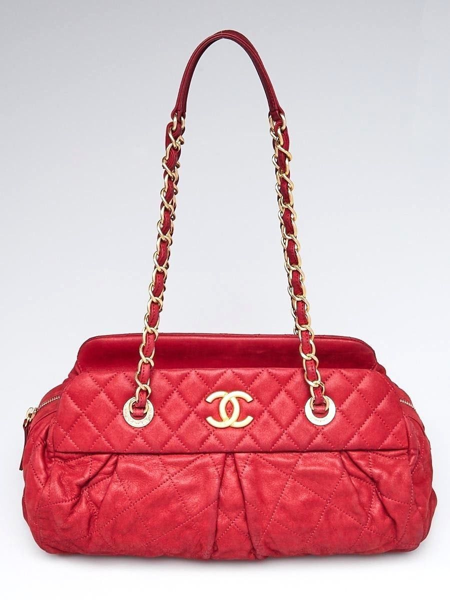 a5f4eb67905f CHANEL Red Quilted Iridescent Calfskin and 50 similar items
