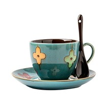 Verdental Four-leaf Clover Ceramic Drum Shaped Mini Cafe Mug with Saucer... - $19.28