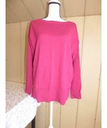 Maison Jules Cotton Boat-Neck Sweater Large, Fuchsia Crystal color - $9.16