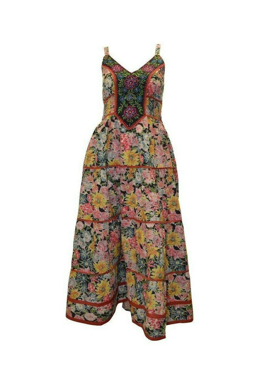Primary image for COTTON BOHO HIPPIE VINTAGE SLEEVELESS FRONT EMBROIDERED FLORAL MAXI DRESS P12