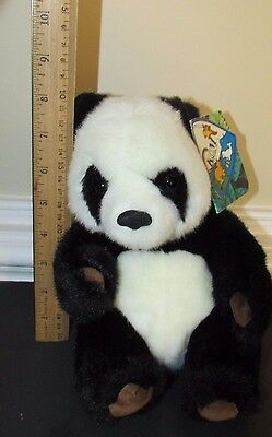"""Small Giant Panda plush brown suede feet foot pads K&M toys 1993 w/ tags 7.5"""" image 3"""