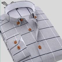 Men Shirt Casual Long Sleeve Plaid Formal Brand Clothing Business Shirts Chemise - $28.56