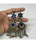 Kuchi Earring Afghan Ethnic Tribal Jingle Bells Blue Glass Star, Round  ... - $17.99