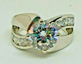 White Cubic Zirconia Rhodium Over Sterling Silver ring 6.28ctw - $26.98