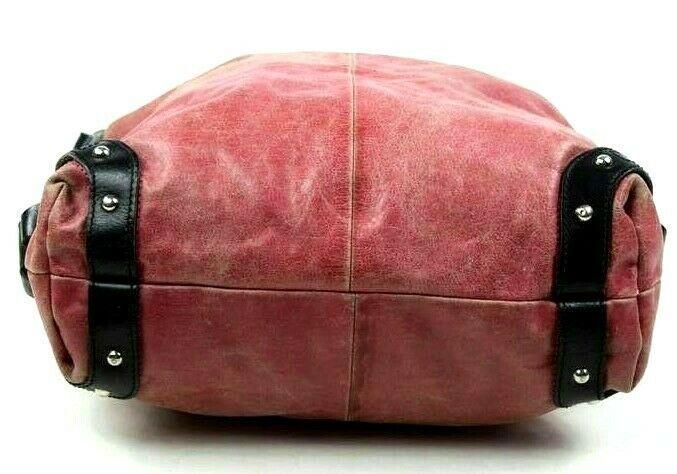 Tano Red Leather Hobo Shoulder Bag Studded Harness Strap Satchel Purse Medium image 6