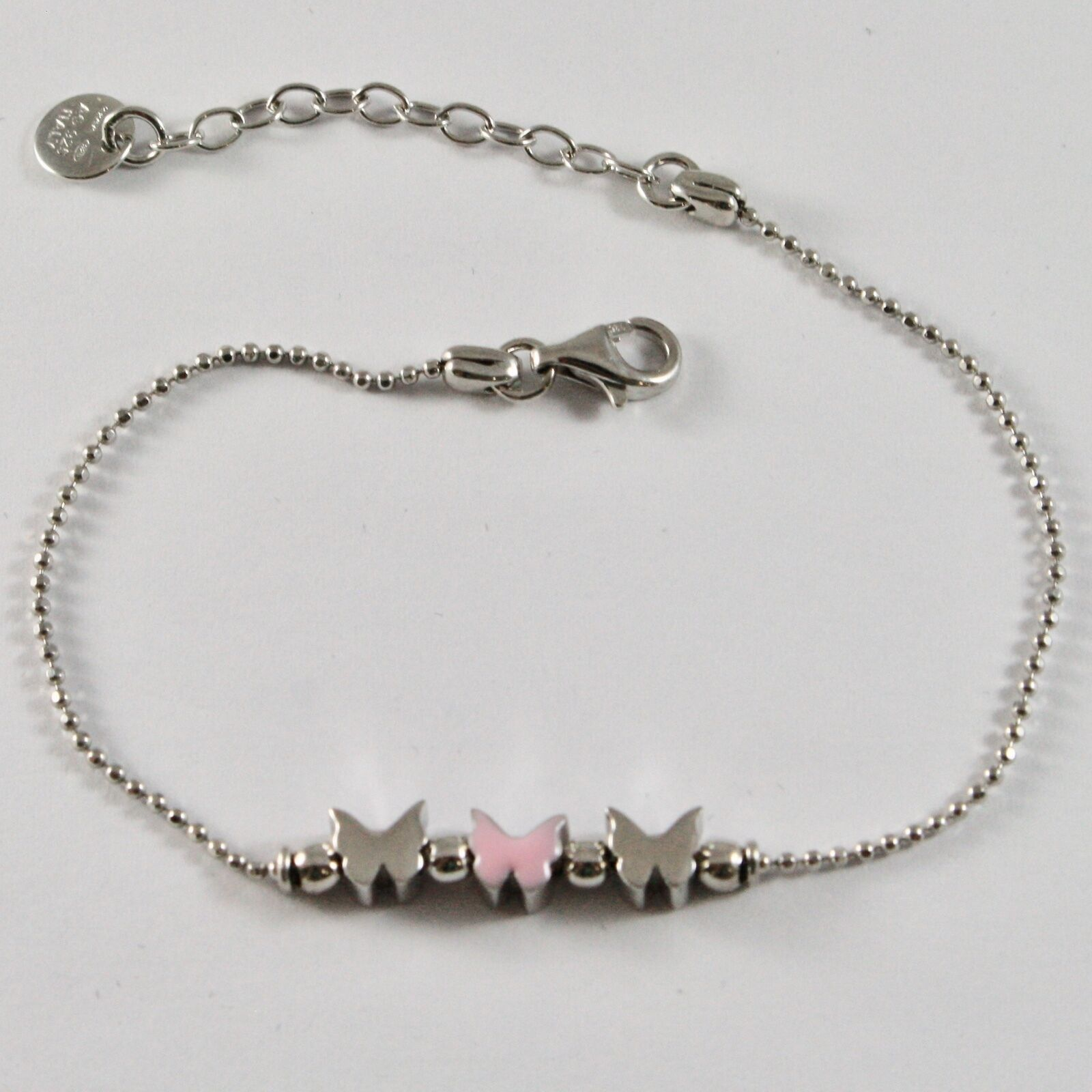 Silver Bracelet 925 Jack&co Butterflies Stylized Balls Faceted JCB0902 image 2