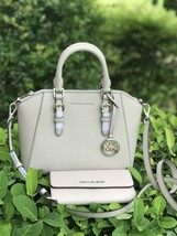 NWT MICHAEL KORS CIARA MD SAFFIANO LEATHER SATCHEL & WALLET IN CEMENT GRAY - $168.29