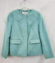 Doncaster Mint Wool Blend Collarless Lined Coat Jacket Sz. 12 EUC 1069 - $26.95