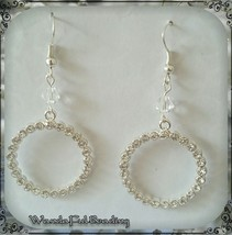 Silver Circle Rhinestone Dangle Earrings - $5.94