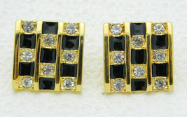 Vintage Darla Signed Clear Rhinestone Black Enamel Check Post Earrings - $19.80