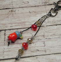 Toucan Red Gold Crystal Beaded Handmade Purse Planner Charm Keychain Clip - $14.54