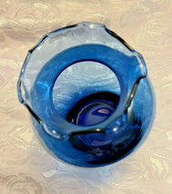"Vintage Ruffled Collar Blue Glass Vase 6"" by 6"" image 6"