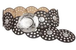 """Women's 3 1/2"""" (90 mm) Wide Boho Disc Concho Leather Belt - $68.46"""